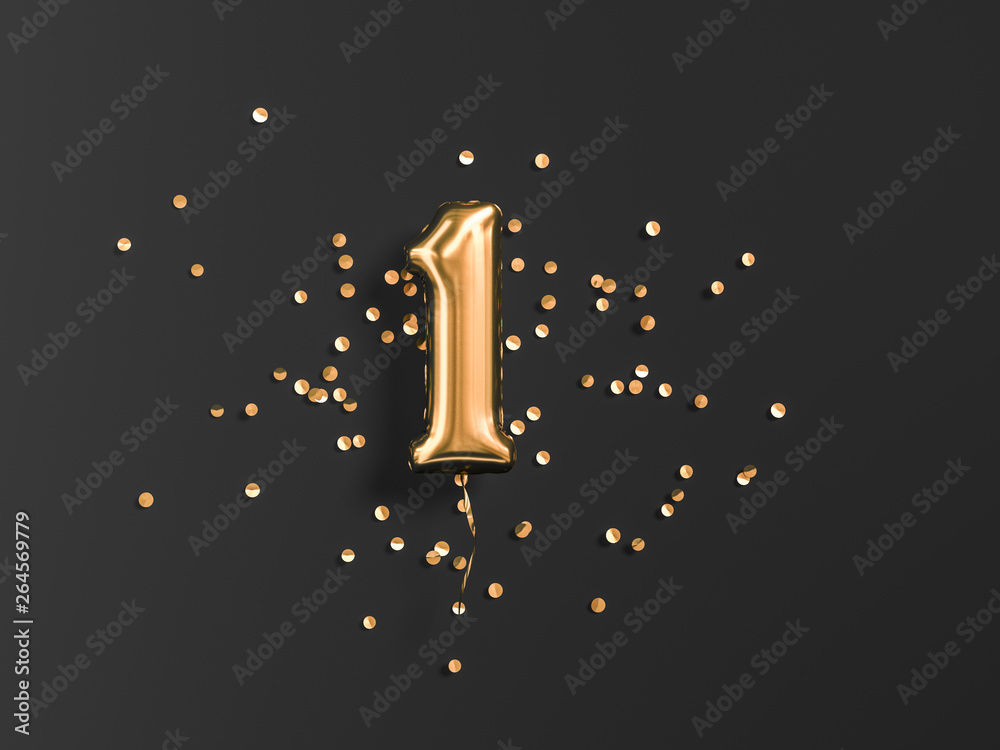 Fototapeta One year birthday. Number 1 flying foil balloon and gold confetti on black. One-year anniversary background. 3d rendering