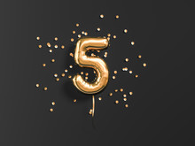 Five Year Birthday. Number 5 Flying Foil Balloon And Gold Confetti On Black. Five-year Anniversary Background. 3d Rendering