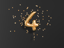 Four Year Birthday. Number 4 Flying Foil Balloon And Gold Confetti On Black.Four-year Anniversary Background. 3d Rendering
