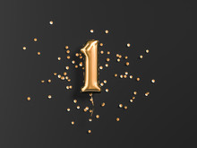 One Year Birthday. Number 1 Flying Foil Balloon And Gold Confetti On Black. One-year Anniversary Background. 3d Rendering
