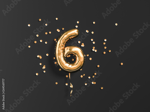 Obraz Six year birthday. Number 6 flying foil balloon and gold confetti on black. Six-year anniversary background. 3d rendering - fototapety do salonu