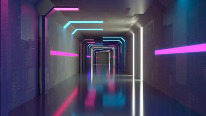 Abstract background, corridor, minimalism, neon lights. 3d rendering