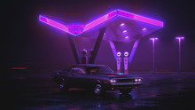 Neon Gas Station And Retro Car. Cyberpunk Fog Rain And Night. Colour Reflections On Asphalt. Dodge Challenger 3d Illustration