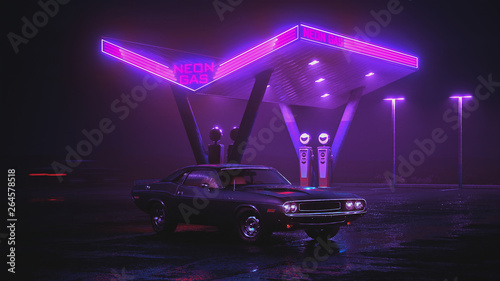 Neon gas station and retro car. Fog rain and night. Colour reflections on asphalt. Dodge Challenger 3d illustration