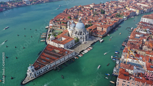 Aerial drone photo of iconic and unique Santa Maria Della Salute Cathedral in Grand Canal, Venice, Italy