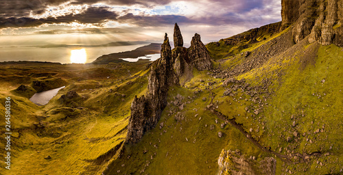 Aerial view of the Old Man of Storr and the Storr cliffs on the Isle of Skye in Wallpaper Mural