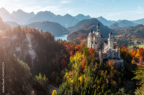 Neuschwanstein Castle under Sunlight with Mountain Hills on Background,