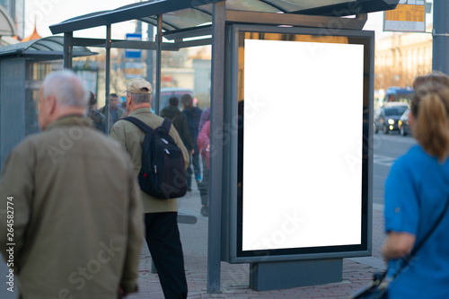 Obraz Vertical billboard lightbox in the city. - fototapety do salonu