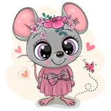 Fototapeta Fototapety na ścianę do pokoju dziecięcego - Greeting card Cartoon Mouse with flowers