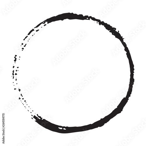 Fototapeta Round Frame, grunge textured hand drawn element, vector illustration isolated on white background obraz na płótnie