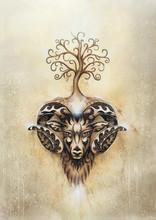 Ornamental Painting Of Aries, Sacred Animal Symbol And Tree Of Life.