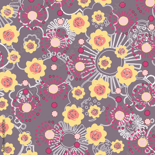 Poster Oiseaux, Abeilles Fashionable pattern in small flowers. Floral background for textiles.