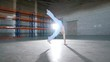 A bright room. An athletic man training his capoeira skills.