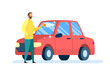 Car Owner Cleaning Auto Flat Vector Illustration