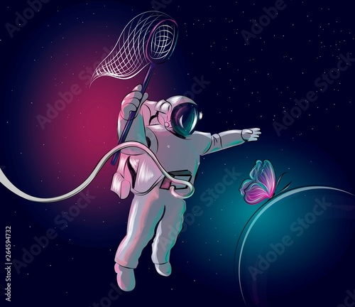 Cosmonaut is chasing a butterfly. Perfect for home decor such as posters, wall art, tote bag, t-shirt print, sticker, post card.