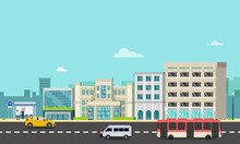 Cityscape With Bus Stop , Cars...