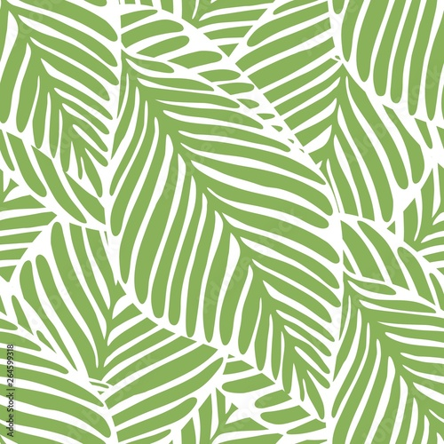 Fotobehang Tropische bladeren Abstract bright green leaf seamless pattern. Exotic plant.
