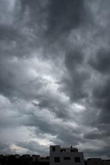 Dramatic cloudy summer sky in Puebla Mexico