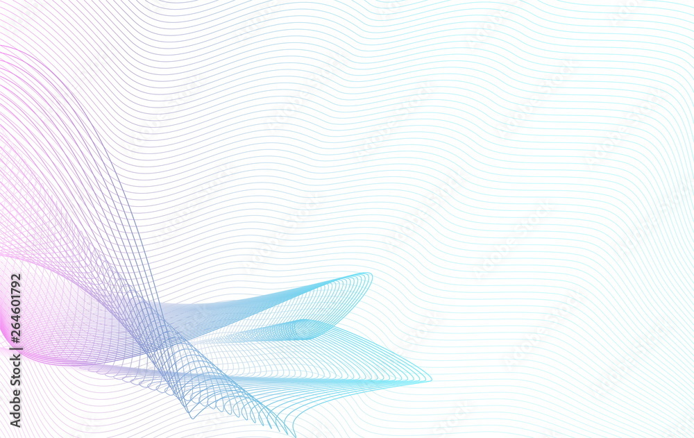 Fototapety, obrazy: Abstract colored line art pattern. Purple, blue, turquoise light gradient. Wavy squiggle curves. White background. Vector futuristic waveform. Guilloche design. EPS10 illustration