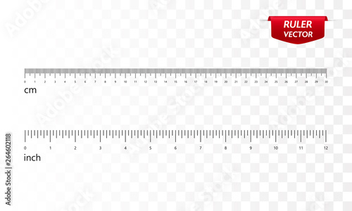 Fotografía  Rulers set, inches and centimeters. Vector