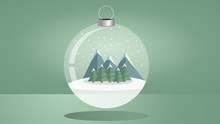 Illustration Of Christmas Snow Globe Against Green Background