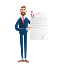 3d Illustration. Handsome Businessman Billy Holds A Completed Document.