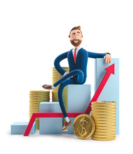 3d Illustration. Businessman Billy Goes To Success. Concept Of Financial Growth. Dashboard With The Analysis Of Finance