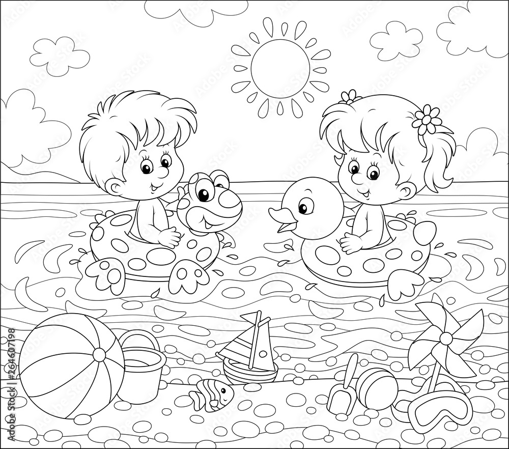 Happy little kids swimming in inflatable rings on a sea beach on a sunny summer day, black and white vector illustration in a cartoon style for a coloring book