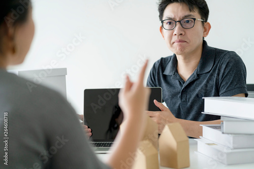 Fotografering asian glasses man stress arguing with co worker in meeting room office backgroun