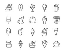 Set Of Ice Cream Icons, Such A...