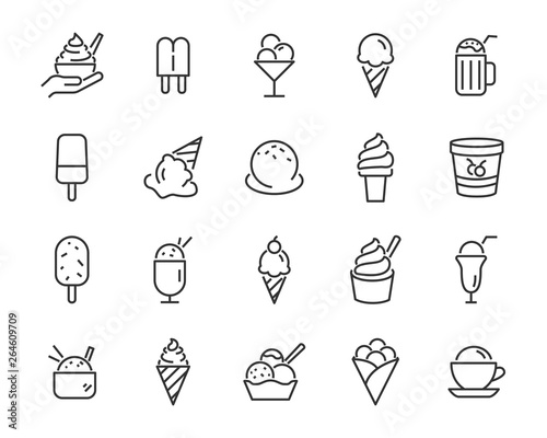 set of ice cream icons, such as  parfait, frozen yogurt, ice cream sundae, vanilla, chocolate Wall mural