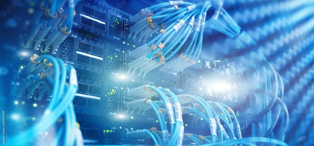 Fototapety, obrazy: Close up fiber optic and hub in server room.