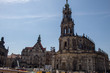 Streets of the capital of Saxony Dresden on Easter holidays, architecture and historical monuments