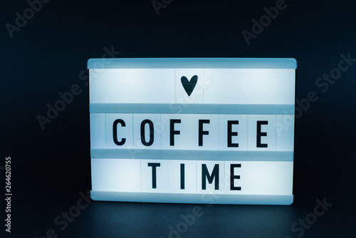 Photo of a light box with text, COFFEE TIME, isolated background