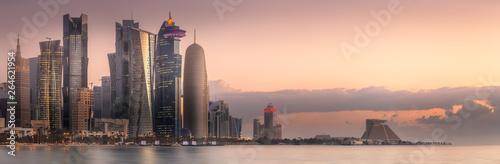 Obraz The skyline of West Bay and Doha City, Qatar - fototapety do salonu