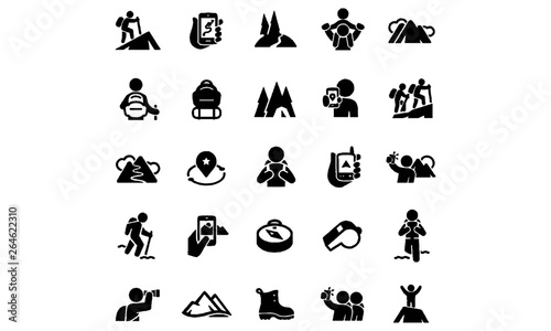 Fototapeta Hiking Icons vector design  obraz