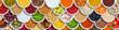 Früchte Beeren Gemüse Obst Gewürze Zutaten Banner Hintergrund von oben