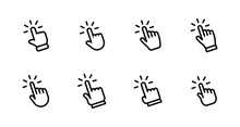 Hand Clicking Icon Set. Finger...