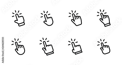Foto  Hand clicking icon set. Finger click pointer.