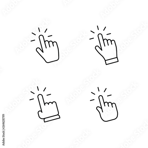Fototapeta Hand clicking icon set. Finger click pointer. obraz na płótnie