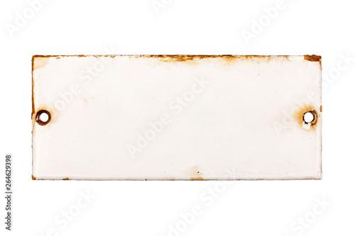 Fotografie, Obraz  Altes Türschild aus Emaille ohne Beschriftung, isoliert auf weißem Hintergrund