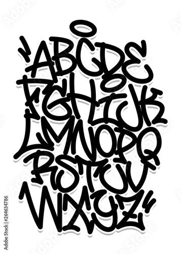 Handwritten graffiti font alphabet  Black on white - Buy