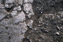 Stone And Soil Texture Background With Dust And Granular Particles. Close Up Macro Of Rustic Terrain In Blue Tint