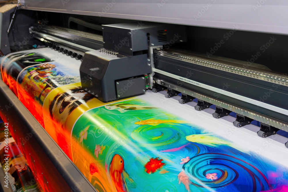 Fototapety, obrazy: Large format printing machine in operation. Industry