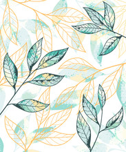 Golden And Green Leaves Pattern. Hand Drawn Vector Background