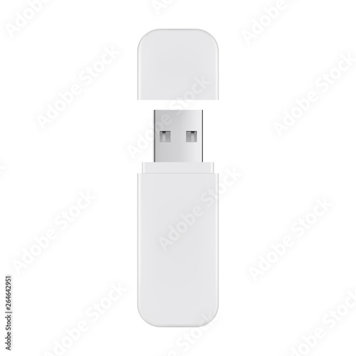 USB flash drive with cover isolated on white background. Vector illustration Wall mural