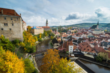 Czech Republic, Overlook Over Cesky Krumlov And The Vltava River