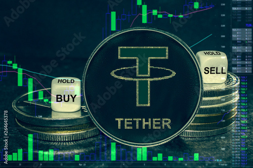 Fotografía  coin cryptocurrency usdt tether stack of coins and dice