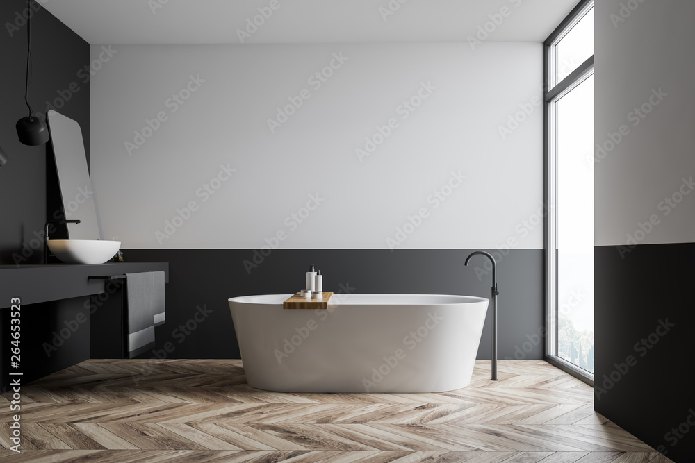 Fototapety, obrazy: Side view of white and gray bathroom