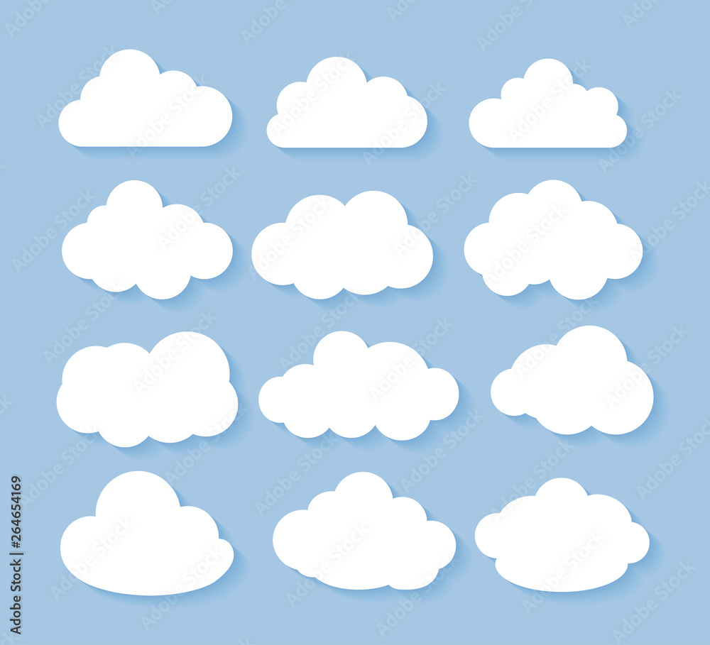 Fototapeta Clouds icon, vector illustration. Cloud symbol or logo, different clouds set